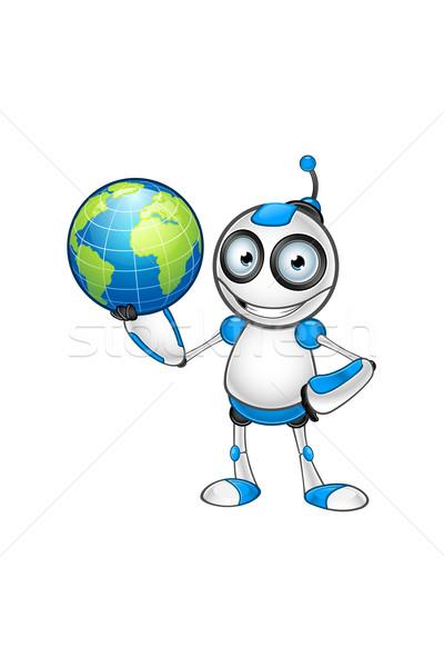 Fehér kék robot karakter aranyos számítógép Stock fotó © DesignWolf