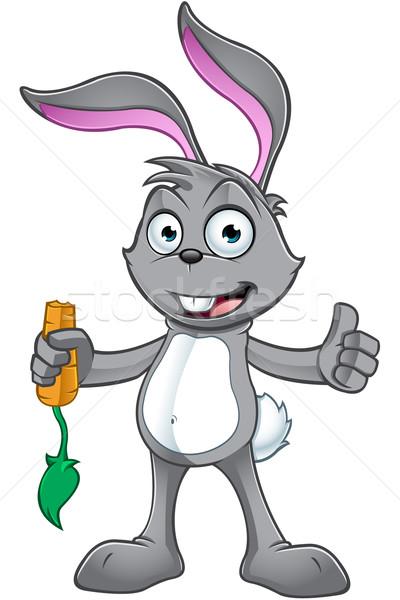 Szary królik charakter cartoon ilustracja Wielkanoc Zdjęcia stock © DesignWolf