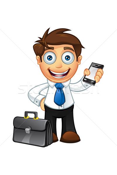Kék nyakkendő üzletember karakter illusztráció rajz Stock fotó © DesignWolf