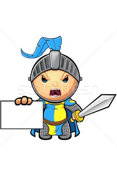 Blauw Geel ridder karakter cute middeleeuwse Stockfoto © DesignWolf