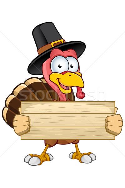 Turkey Mascot - Wooden Sign Stock photo © DesignWolf