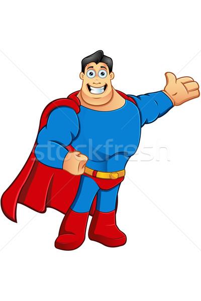 Karikatür süper kahraman karakter örnek mavi Stok fotoğraf © DesignWolf