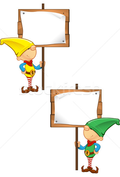 Elf Mascot - Holding Wooden Sign Stock photo © DesignWolf