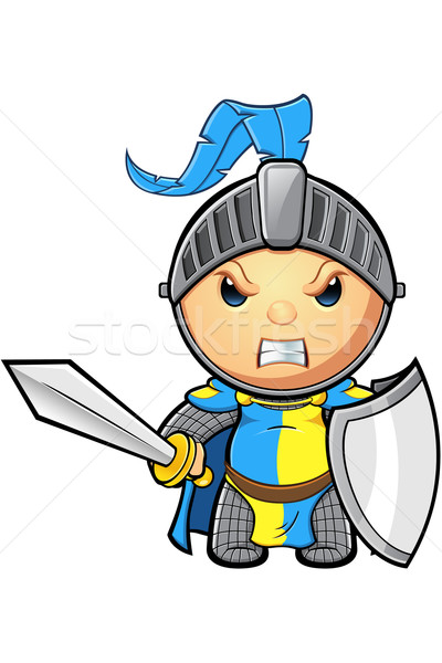 Blue and Yellow Knight Character Stock photo © DesignWolf
