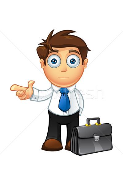 Mavi kravat iş adamı karakter örnek karikatür Stok fotoğraf © DesignWolf