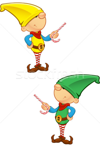 Elf mascotte pointant bonbons hiver garçon Photo stock © DesignWolf