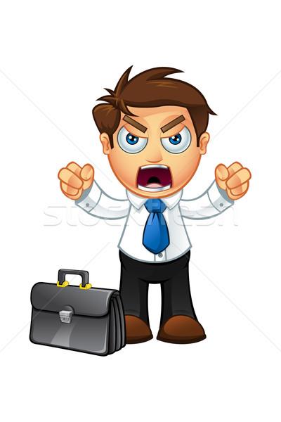 Bleu cravate homme d'affaires personnage illustration cartoon Photo stock © DesignWolf