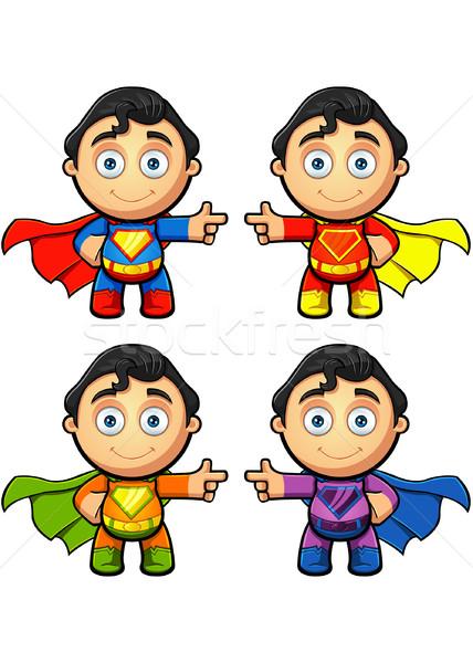 Super homme personnage pointant différent couleurs Photo stock © DesignWolf
