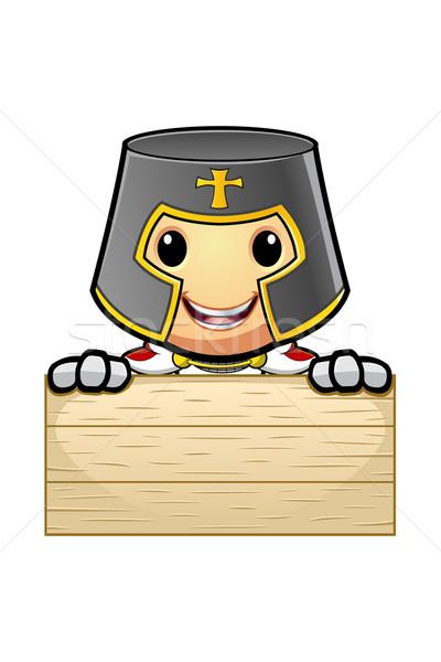 Stock fotó: Rajz · lovag · illusztráció · zászló · keresztény · középkori