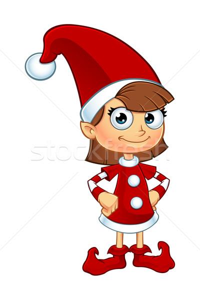 Lány manó piros karakter rajz illusztráció Stock fotó © DesignWolf