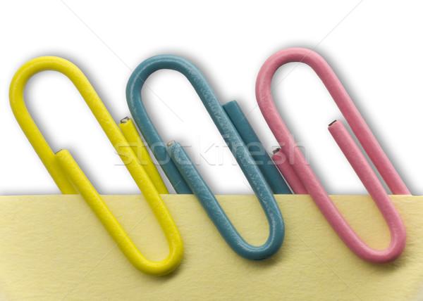 Spinacz Uwaga żółty biały cień działalności Zdjęcia stock © devulderj