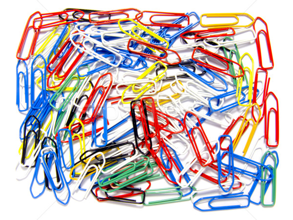 Disorganized multicolored paperclips Stock photo © devulderj