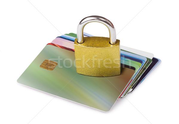 Szürke zárolt lakat hitelkártyák izolált stúdiófelvétel Stock fotó © deyangeorgiev