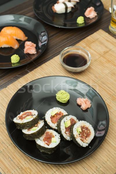 Sushi bar tablo restoran kırmızı siyah Stok fotoğraf © deyangeorgiev