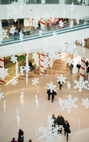 Blurred people in shopping center on christmass.  Stock photo © deyangeorgiev