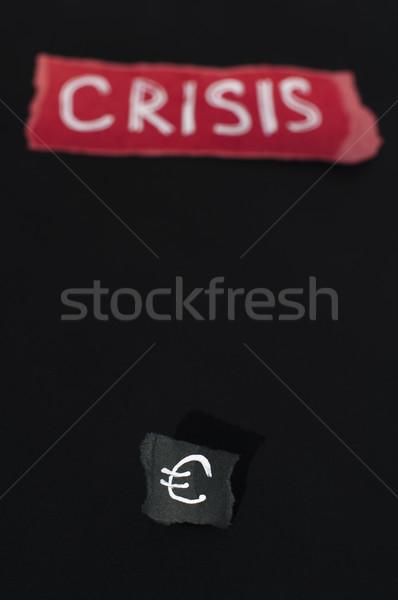 Válság fehér szöveg piros pénz papír Stock fotó © deyangeorgiev