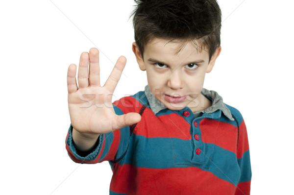 Piccolo ragazzo stop mano bianco Foto d'archivio © deyangeorgiev