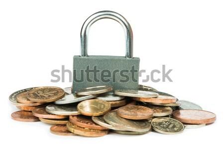 Szürke zárolt lakat érmék izolált stúdiófelvétel Stock fotó © deyangeorgiev