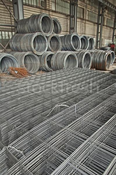 Foto stock: Aço · barras · rolar · em · linha · reta · materiais · de · construção · construção