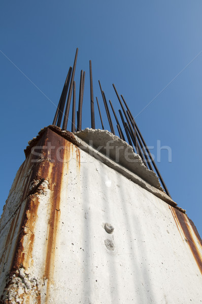 Old reinforcing steel protruding from the concrete Stock photo © deyangeorgiev