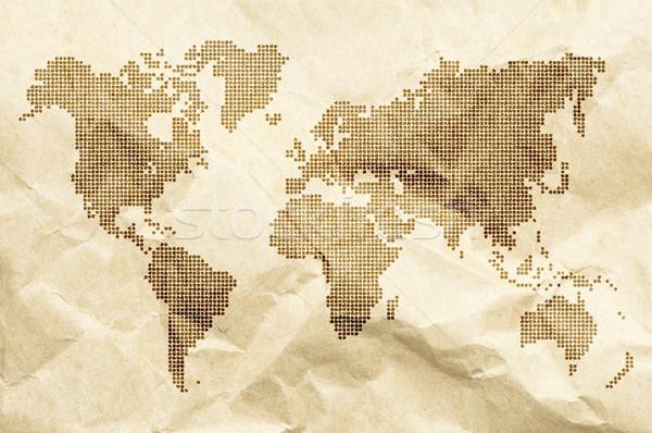 Ponto mundo velho estilo mapa papel velho Foto stock © deyangeorgiev