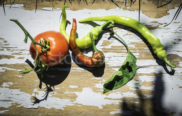 Hortalizas tomates pimientos naturaleza vintage Foto stock © deyangeorgiev
