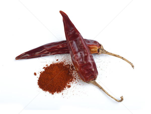 Dried chillies and chilli white isolated Stock photo © deyangeorgiev