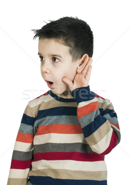 Child listening with ear Stock photo © deyangeorgiev