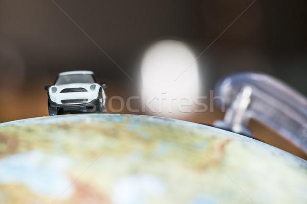 Foto stock: Carro · globo · descobrir · miniatura · brinquedo · mapa