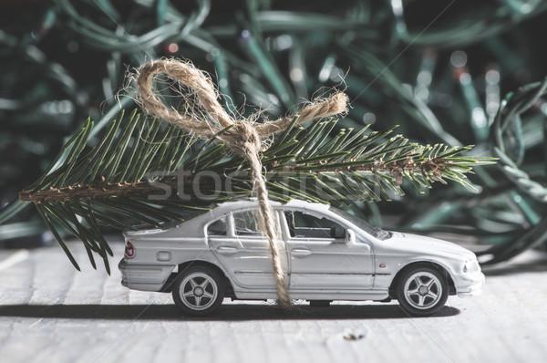 Noel ağacı araba küçük oyuncak ağaç kar Stok fotoğraf © deyangeorgiev