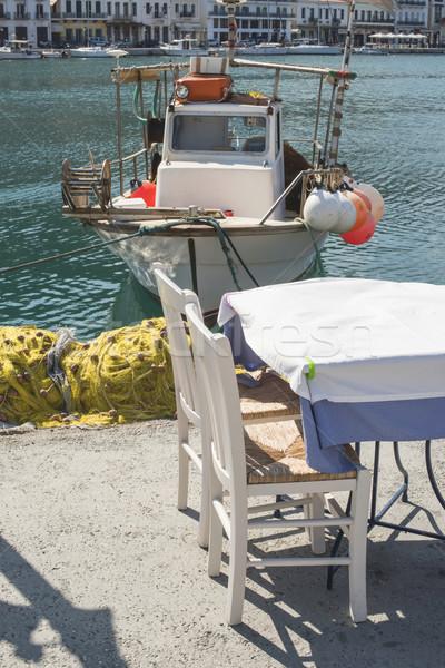 Foto stock: Típico · grego · restaurante · peixe · barco · Grécia
