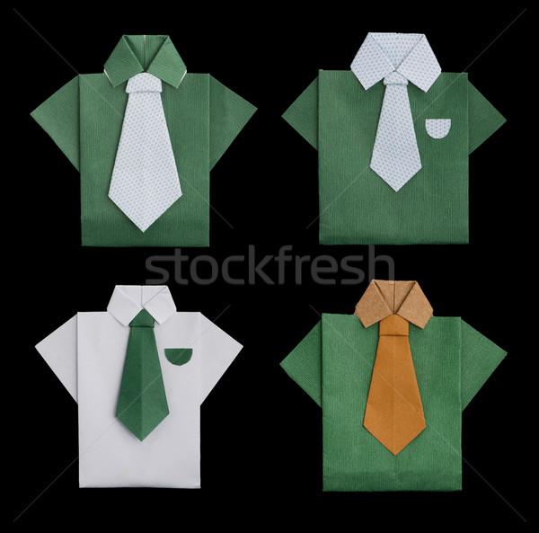 Set of isolated paper made shirts. Stock photo © deyangeorgiev