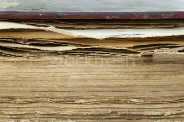 Old worn paper sheets of book Stock photo © deyangeorgiev