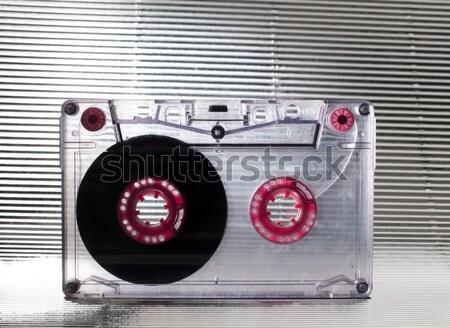 Cassette nastro trasparente rosso colore sfondo Foto d'archivio © deyangeorgiev