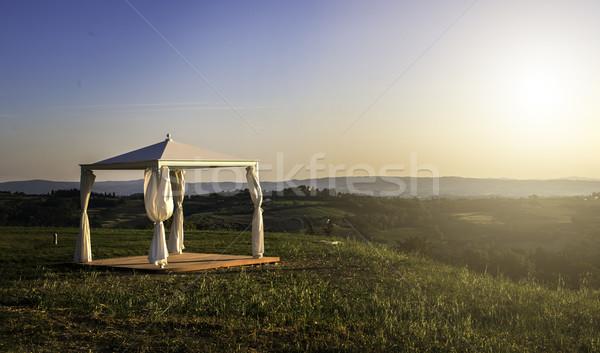 White gazebo in a mountain Stock photo © deyangeorgiev