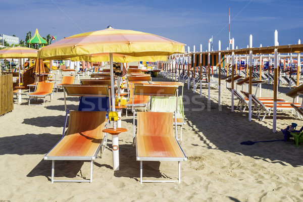 傘 ビーチ オレンジ 水 太陽 海 ストックフォト © deyangeorgiev