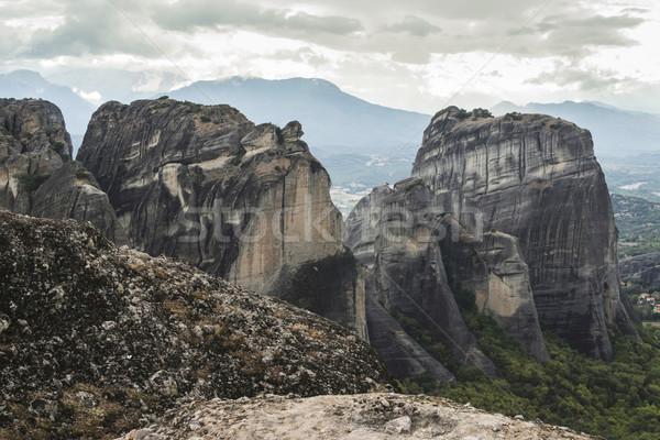 Grecia top rock torri natura panorama Foto d'archivio © deyangeorgiev
