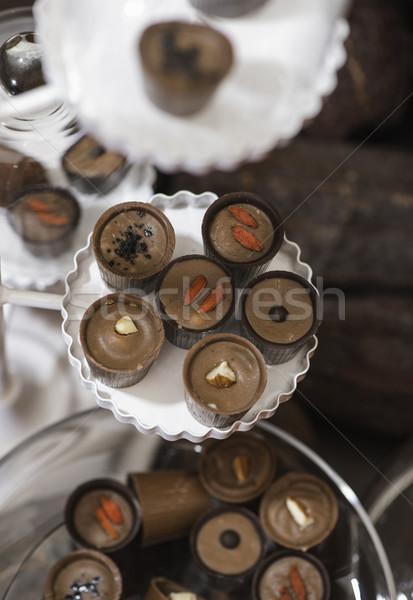 Chocolate bonbons in dish Stock photo © deyangeorgiev