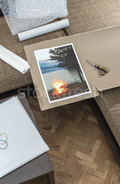 Packaging of printed wall art picture Stock photo © deyangeorgiev