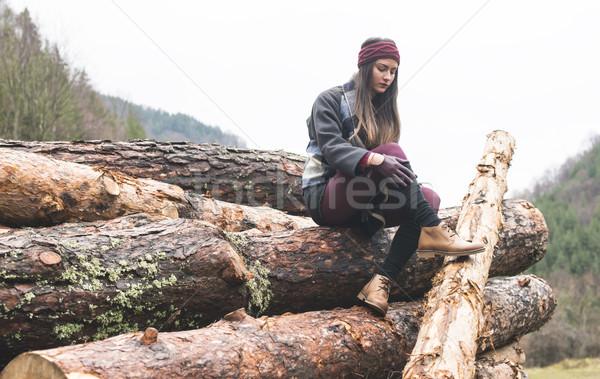 Genç kadın orman ahşap kadın kadın orman Stok fotoğraf © deyangeorgiev