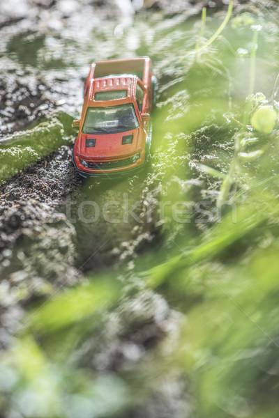 Pequeno vermelho estrada carro brinquedo Foto stock © deyangeorgiev