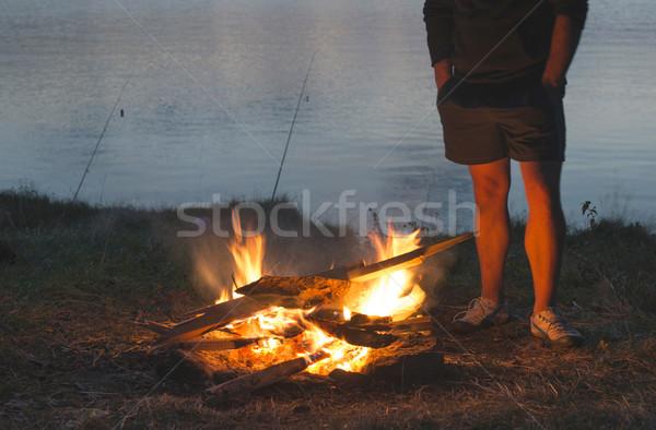 Yangın doğa barbekü orman adam ışık Stok fotoğraf © deyangeorgiev