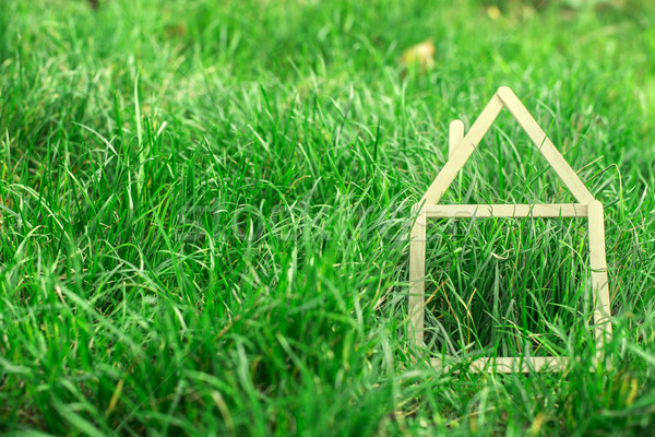 Model ev yeşil ot ahşap Bina inşaat Stok fotoğraf © deyangeorgiev