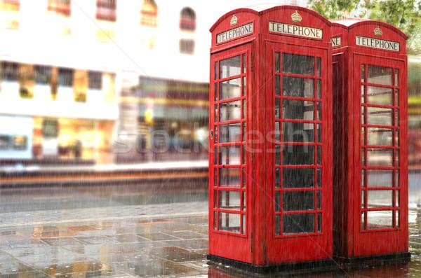 雨の 電話 ロンドン 赤 日 ヴィンテージ ストックフォト © deyangeorgiev