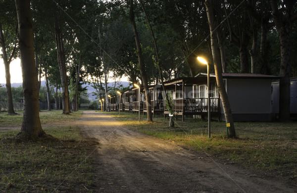 Ahşap bungalov kamp gece su çim Stok fotoğraf © deyangeorgiev