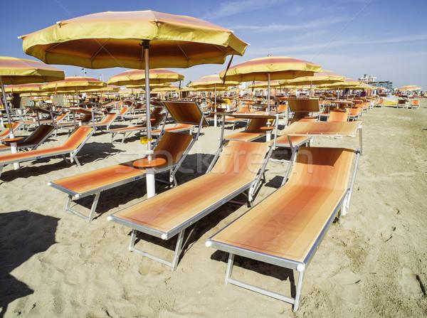 傘 ビーチ オレンジ 空 水 自然 ストックフォト © deyangeorgiev