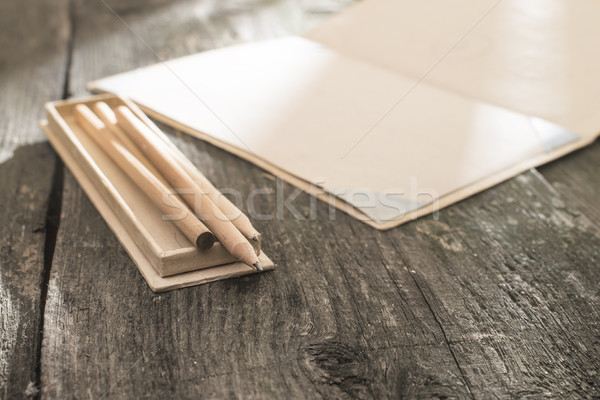 Bağbozumu kalem çizim kâğıt zayıf güneş ışığı Stok fotoğraf © deyangeorgiev