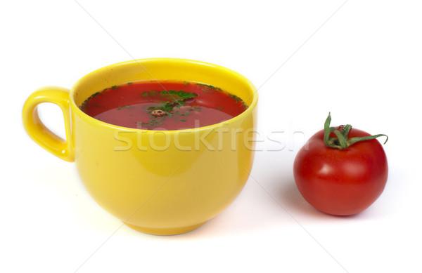 Zupa pomidorowa pomidorów biały odizolowany liści zdrowia Zdjęcia stock © deyangeorgiev