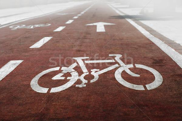 Bicikli fehér szimbólum festék utazás testmozgás Stock fotó © deyangeorgiev