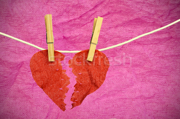 Paper Heart divided into two parts Stock photo © deyangeorgiev